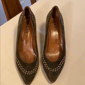 Women's Prada Green Suede Kitten Heels, 9 Narrow